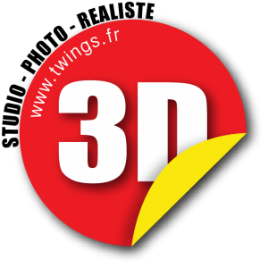 Logo 3D twings Studio de production de visuels photo-réaliste 3d